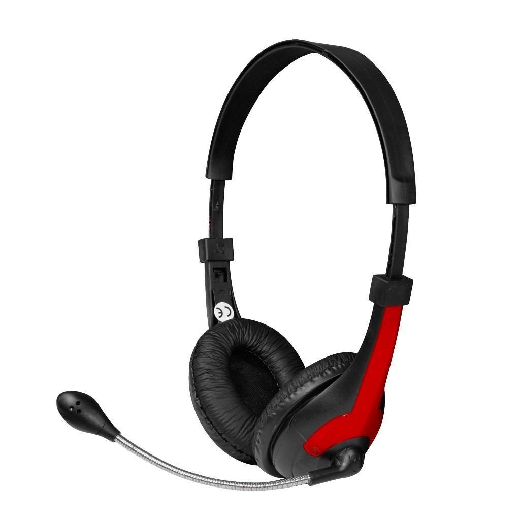 Vakoss MSONIC Słuchawki stereo z mikrofonem,regulacja głośności MH538KR czarno-czerwone
