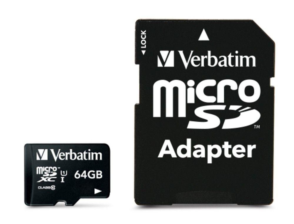 Verbatim Micro SDHC 64GB Class10 UHS-I + Adapter