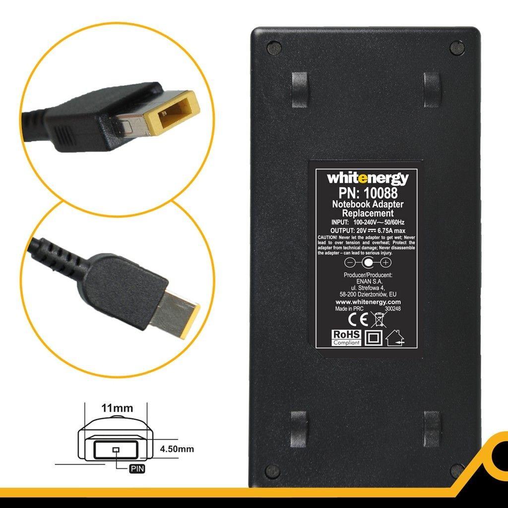 Whitenergy zasilacz 20V/6.75A 135W wtyczka 11x4.5x0.6mm Lenovo