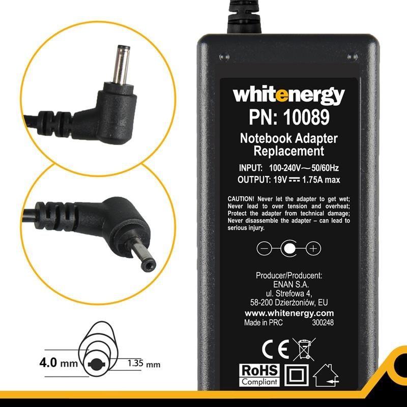 Whitenergy zasilacz 19V/1.75A 33W wtyczka 4.0x1.35mm