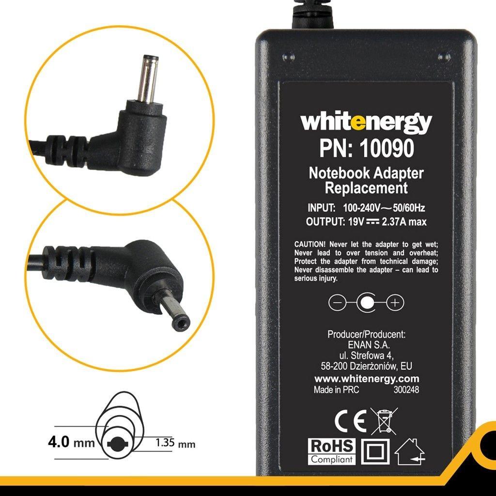 Whitenergy zasilacz 19V/2.37A 45W wtyczka 4.0x1.35mm