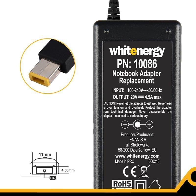 Whitenergy zasilacz 20V/4.5A 90W wtyczka 11x4.5x0.6mm
