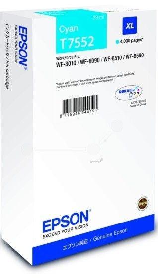 Epson Tusz T7552 cyan XL | WF-8010/WF-8090/WF-8510/WF-8590