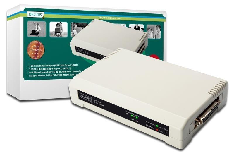 Digitus Serwer wydruku 10/100Mbps 2xUSB2.0 + 1xLPT (Parallel)