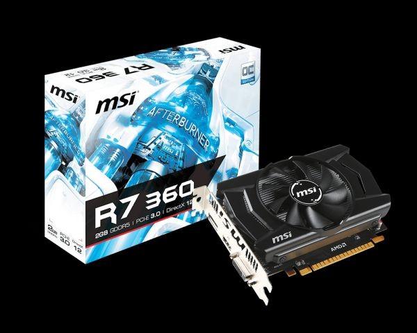MSI KARTA PCI-E 2048MB RADEON R7 360 OC 128bit DDR5 DVI/HDMI/DP retail /MSI