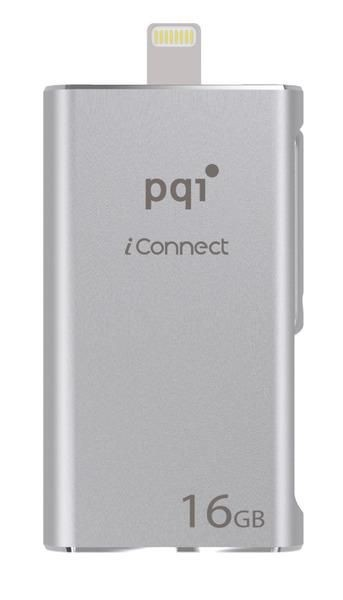 PQI Pendrive OTG USB-lightning 16GB, iConnect srebrny