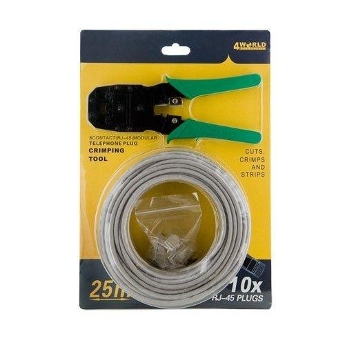 4World zestaw kabel UTP (kat. 5e, 25m) + zaciskarka + 10szt wtyków RJ45