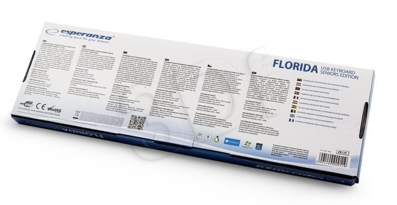 Esperanza Klawiatura EK129 Florida (przewodowa czarny USB dla seniorów z dużym nadrukiem)