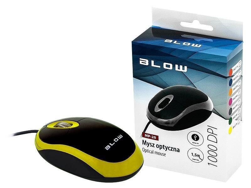 BLOW mysz optyczna MP-20 USB żółta