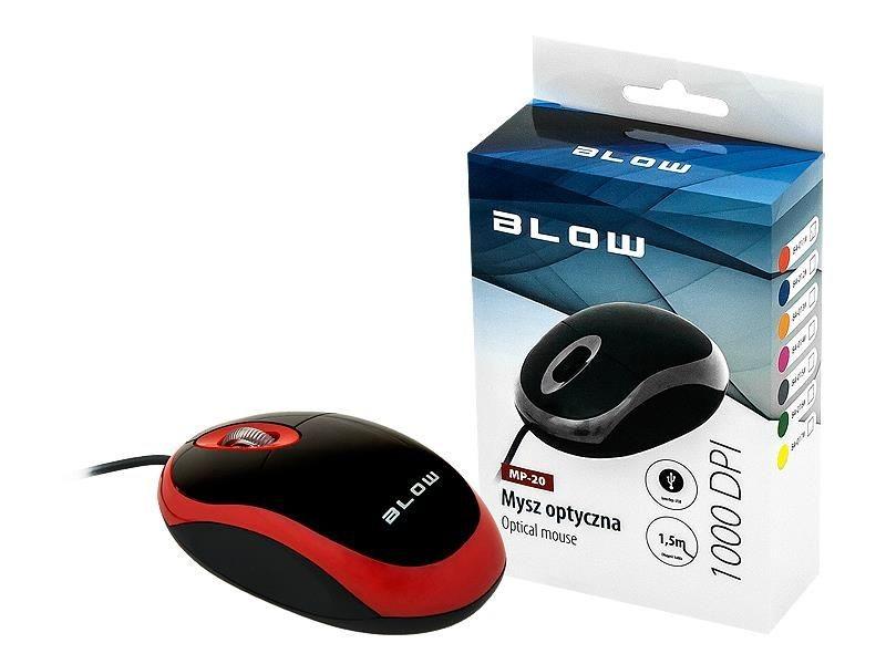BLOW mysz optyczna MP-20 USB czerwona