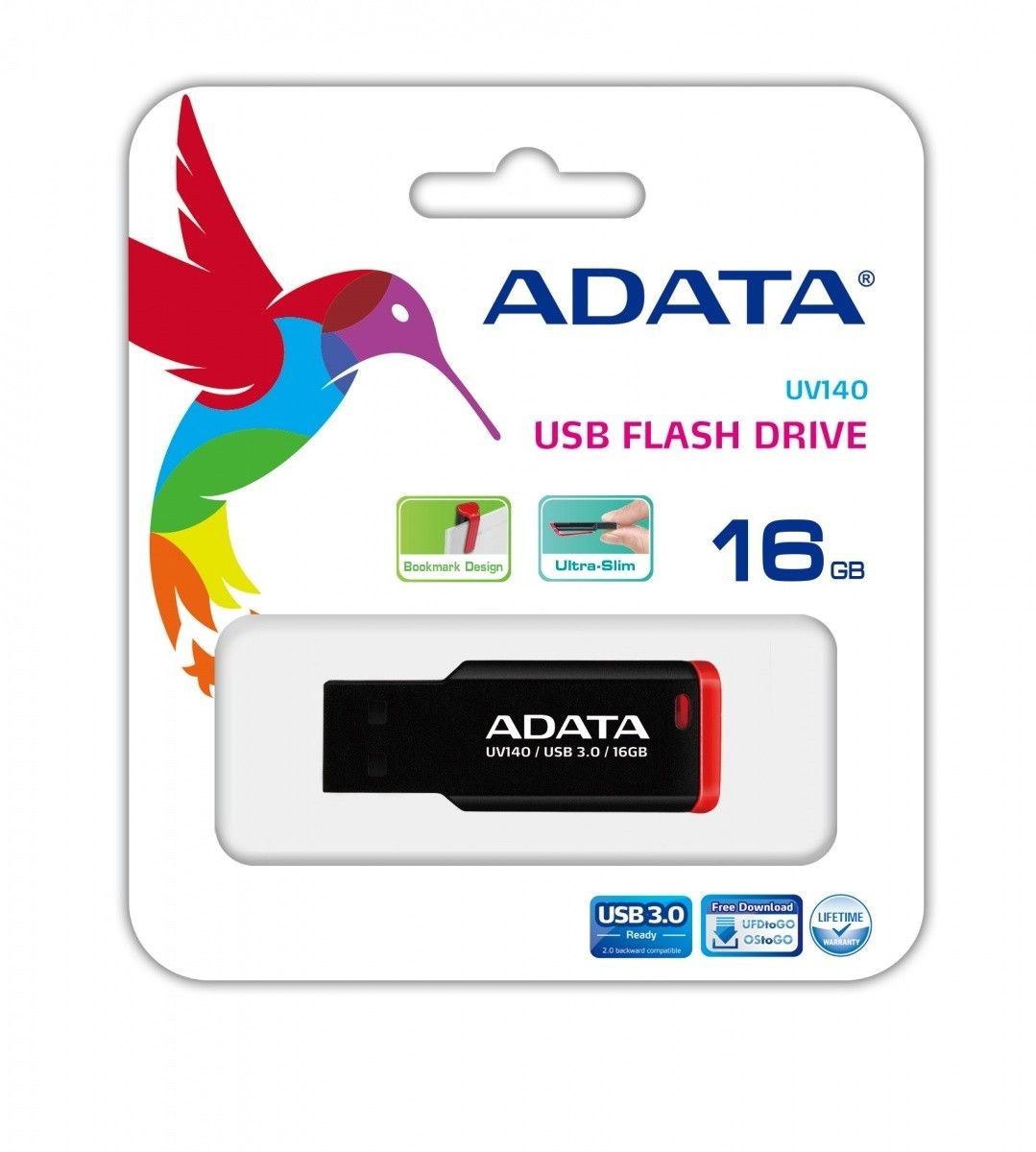 A-Data Adata Flash Drive UV140, 16GB, USB 2.0, black and red