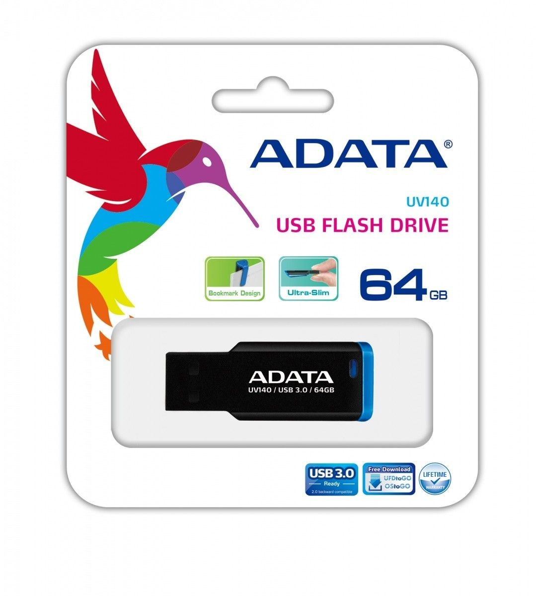 A-Data Adata Flash Drive UV140, 64GB, USB 3.0, black and blue
