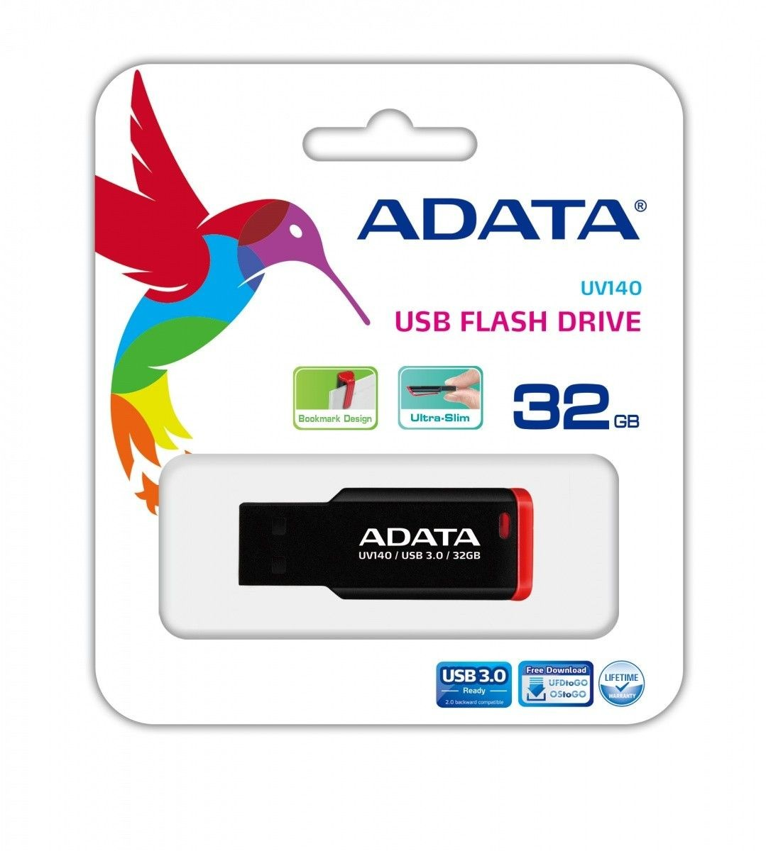 A-Data Adata Flash Drive UV140, 32GB, USB 2.0, black and red