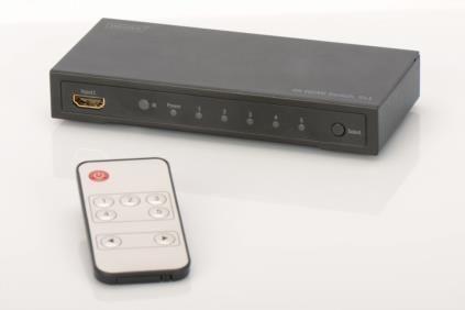 Digitus Przełącznik/Switch HDMI 5-portowy, 4096x2160p 4K UHD 3D, HDCP1.3, z pilotem
