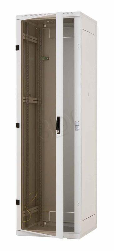 Triton Szafa rack 19 stojąca RMA-27-A88-CAX-A1 (27U 800x800mm trzypunktowe zawiasy przeszklone drzwi kolor jasnoszary RAL7035)