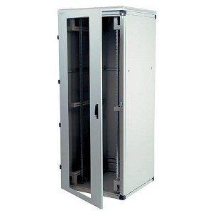 Triton Szafa rack 19 stojąca RMA-27-A81-CAX-A1 (27U 800x1000mm trzypunktowe zawiasy przeszklone drzwi kolor jasnoszary RAL7035)