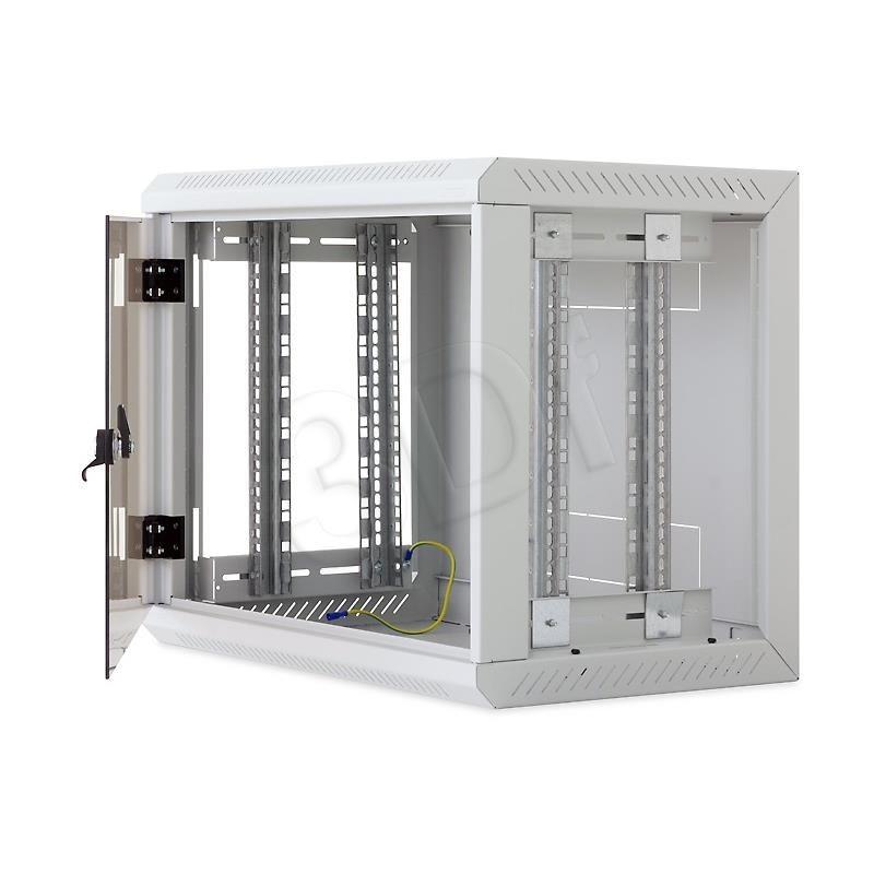 Triton 19 Szafa wisząca jednosekcyjna RUA-12-AS4-CAX-A1 (12U 400mm głębokość przeszklone drzwi kolor jasnoszary RAL7035 demontowalne panele boczne certyfikat IP30 ładowność 30 kg)