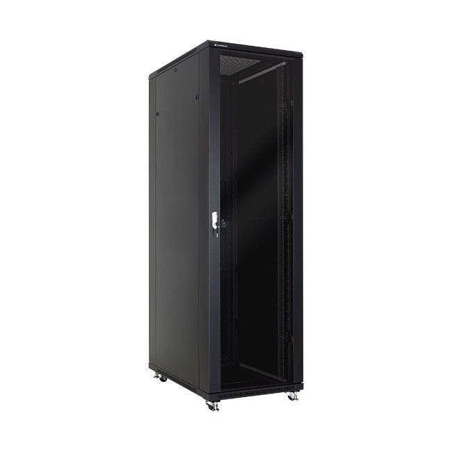Linkbasic szafa stojąca rack 19'' 42U 600x1000mm czarna (drzwi przednie szklane)