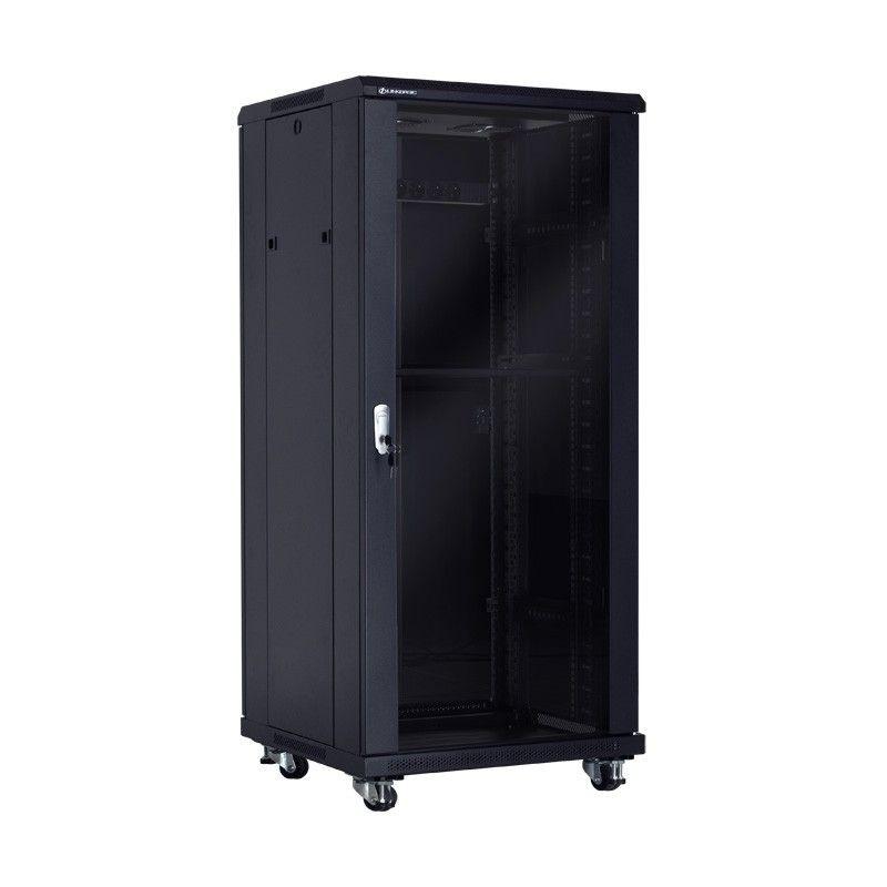 Linkbasic szafa stojąca rack 19'' 27U 600x600mm czarna (drzwi przednie szklane)