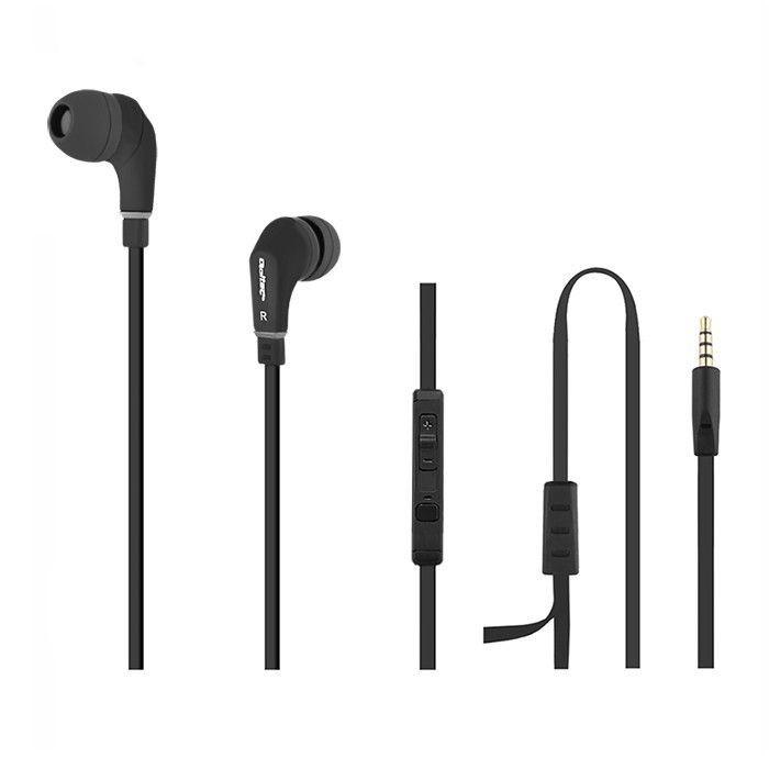 Qoltec PREMIUM Słuchawki douszne + mikrofon | Czarne
