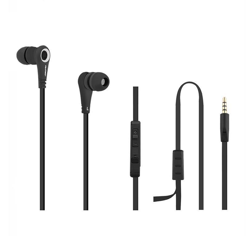 Qoltec PREMIUM Sportowe Słuchawki douszne + mikrofon | Czarne