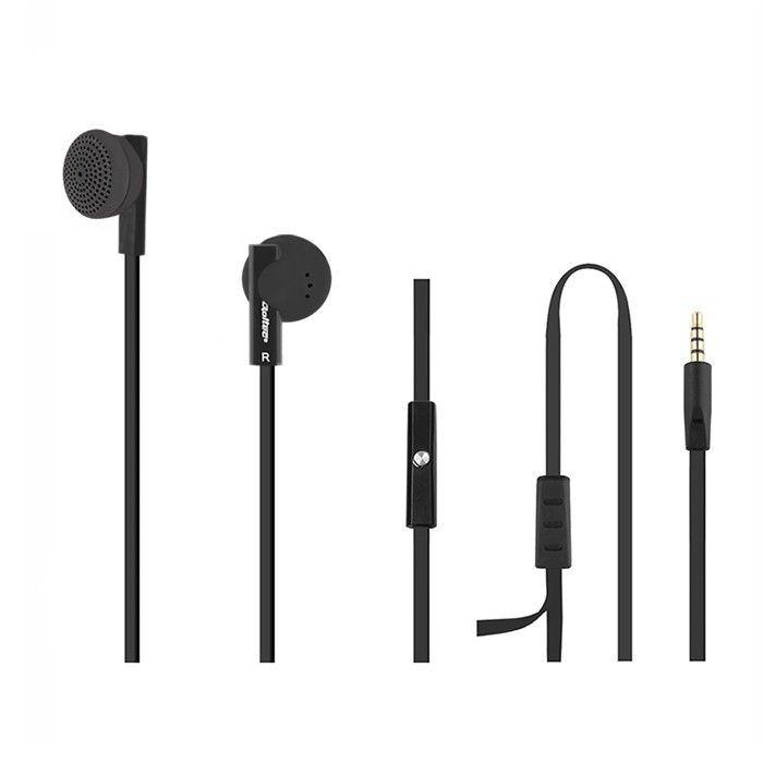Qoltec Słuchawki douszne + mikrofon | Czarne