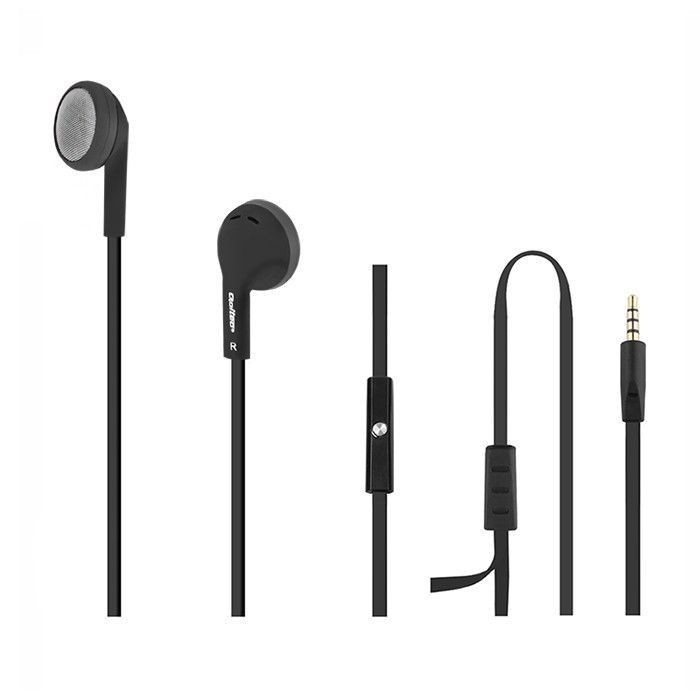 Qoltec Słuchawki douszne | mikrofon | Czarne + srebrny
