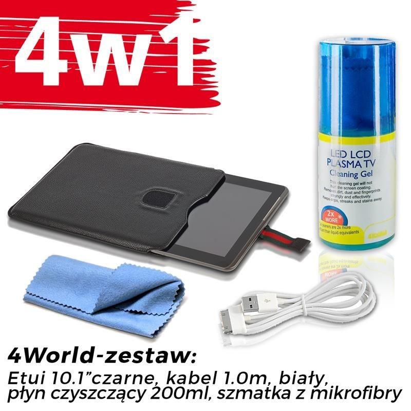 4World Zestaw Etui Galaxy Tab 2 czarne + Kabel 1m biały + Czyścik