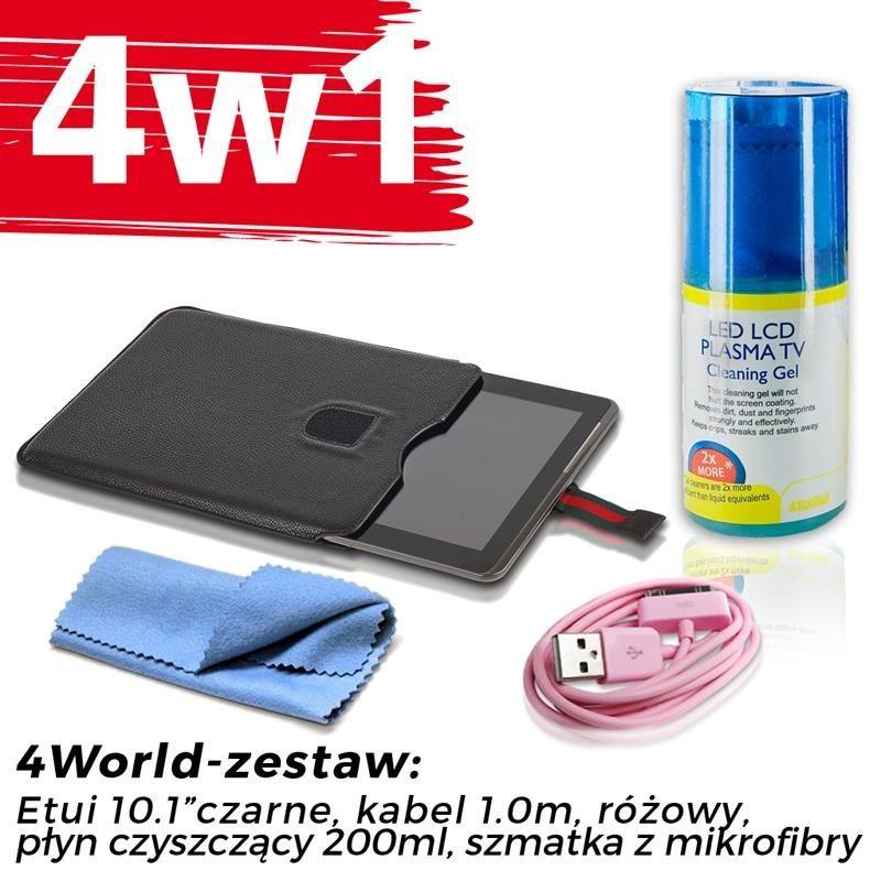 4World Zestaw Etui Galaxy Tab 2 czarne + Kabel 1m różowy + Czyścik