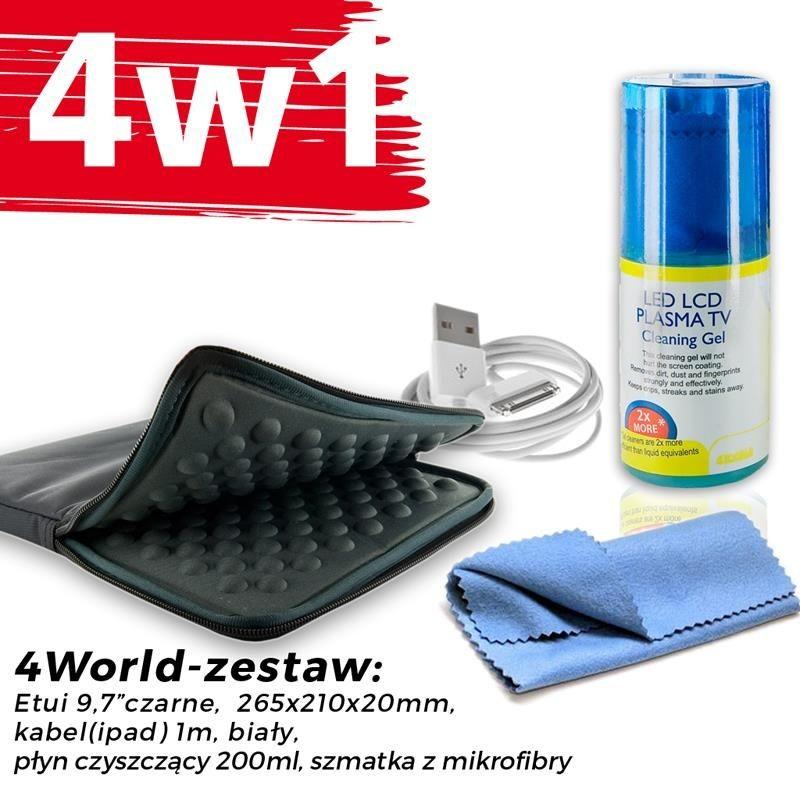 4World Zestaw Etui Tablet 9.7'' Czarne + Kabel 1m Biały + Czyścik