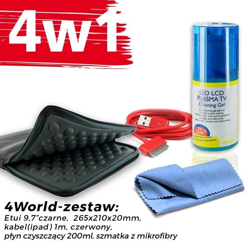 4World Zestaw Etui Tablet 9.7'' Czarne + Kabel 1m Czerwony + Czyścik