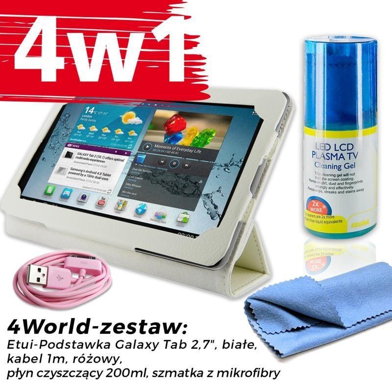 4World Zestaw Etui Galaxy Tab 2 Białe + Kabel 1m Różowy + Czyścik
