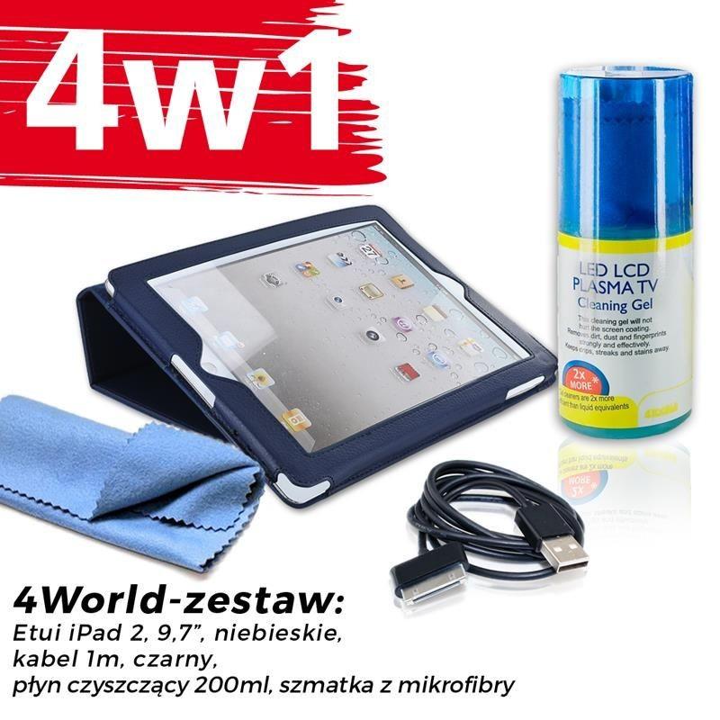 4World Zestaw Etui iPad 2 Niebieskie + Kabel 1m Czarny + Czyścik