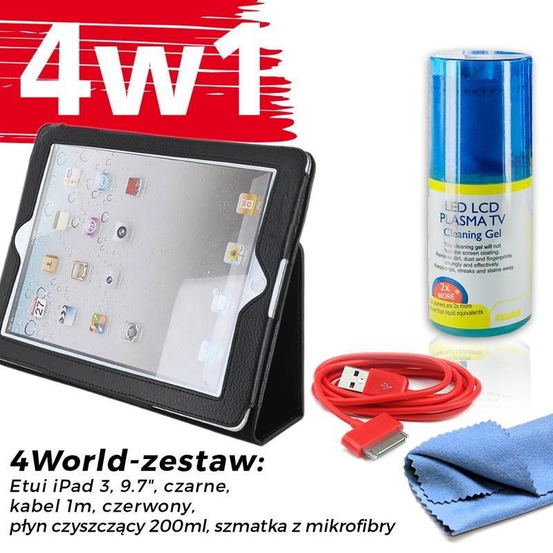 4World Zestaw Etui iPad 3 Czarne + Kabel 1m Czerwony + Czyścik