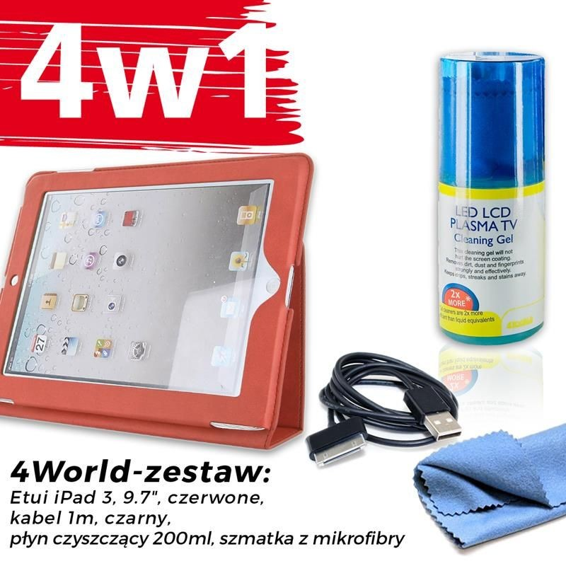 4World Zestaw Etui iPad 3 Czerwone + Kabel 1m Czarny + Czyścik