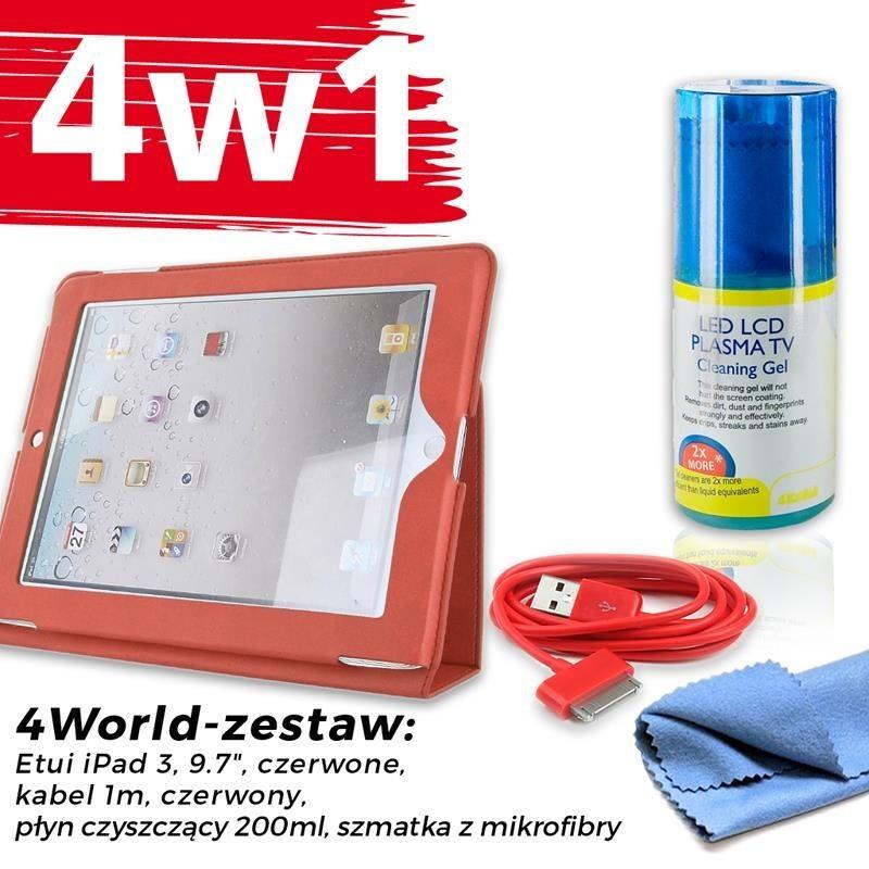 4World Zestaw Etui iPad 3 Czerwone + Kabel 1m Czerwony + Czyścik