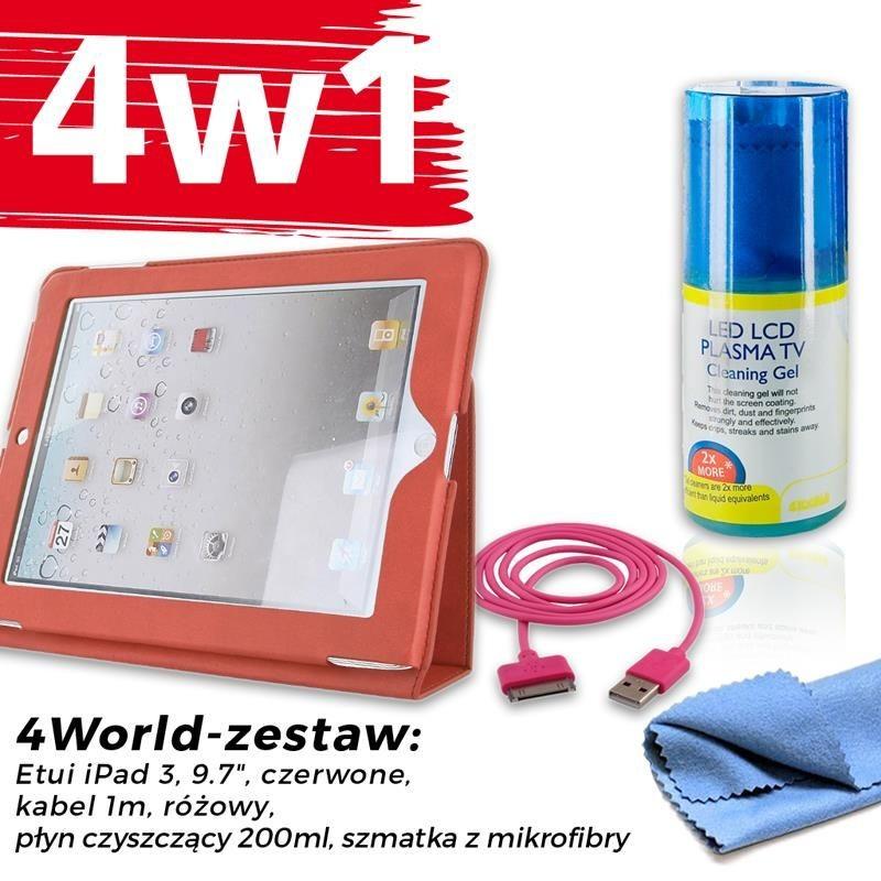 4World Zestaw Etui iPad 3 Czerwone + Kabel 1m Różowy + Czyścik
