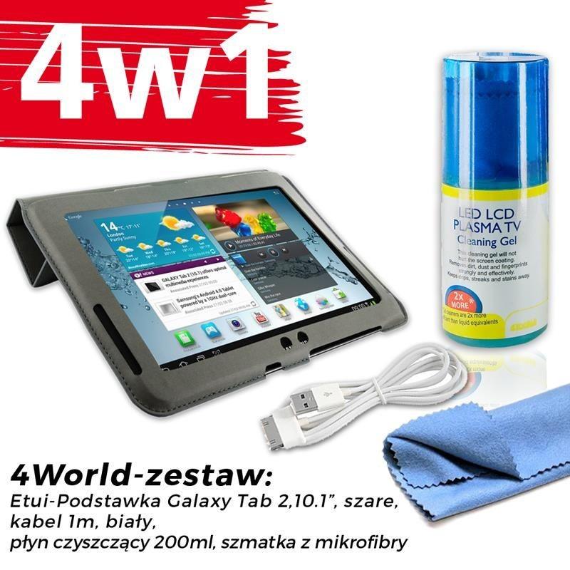 4World Zestaw Etui Galaxy Tab 2 Szare + Kabel 1m Biały + Czyścik