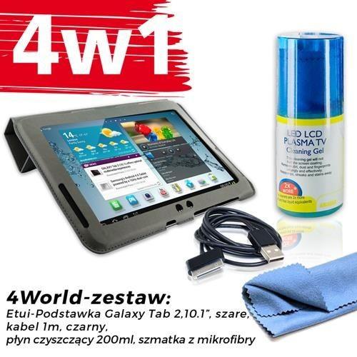 4World Zestaw Etui Galaxy Tab 2 Szare + Kabel 1m Czarny + Czyścik