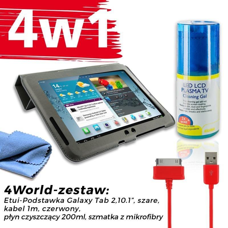 4World Zestaw Etui Galaxy Tab 2 Szare + Kabel 1m Czerwony + Czyścik