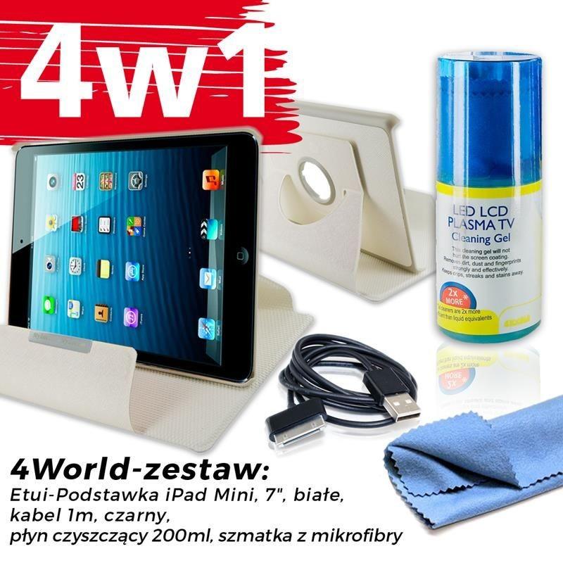 4World Zestaw Etui iPad Mini Białe + Kabel 1m Czarny + Czyścik