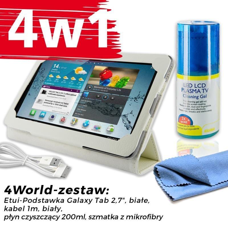 4World Zestaw Etui Galaxy Tab 2 Białe + Kabel 1m Biały + Czyścik