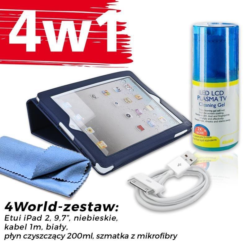4World Zestaw Etui iPad 2 Niebieskie + Kabel 1m Biały + Czyścik