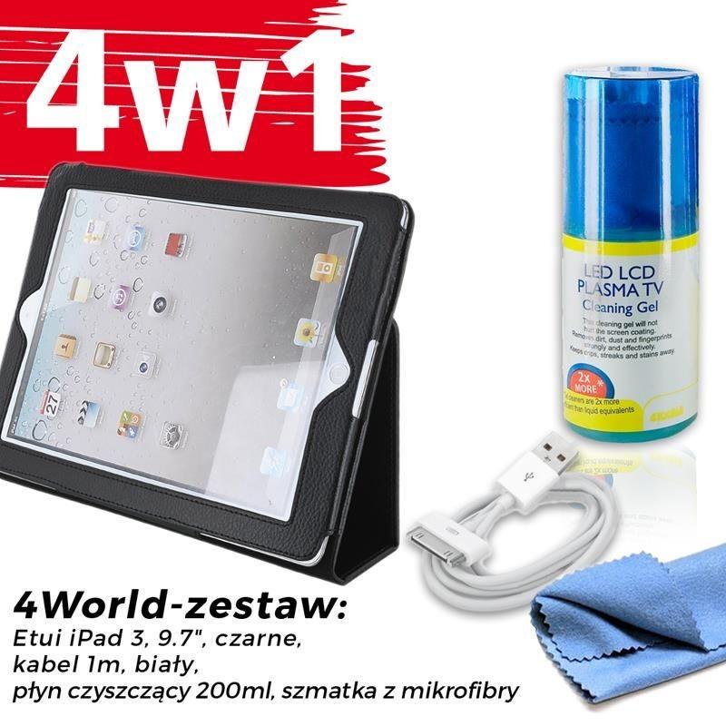 4World Zestaw Etui iPad 3 Czarne + Kabel 1m Białe + Czyścik