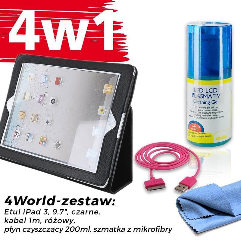4World Zestaw Etui iPad 3 Czarne + Kabel 1m Różowy + Czyścik