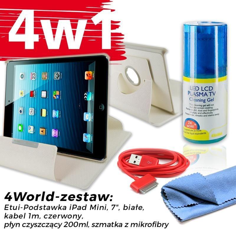 4World Zestaw Etui iPad Mini Białe + Kabel 1m Czerwony + Czyścik
