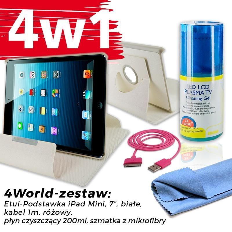 4World Zestaw Etui iPad Mini Białe + Kabel 1m Różowy + Czyścik
