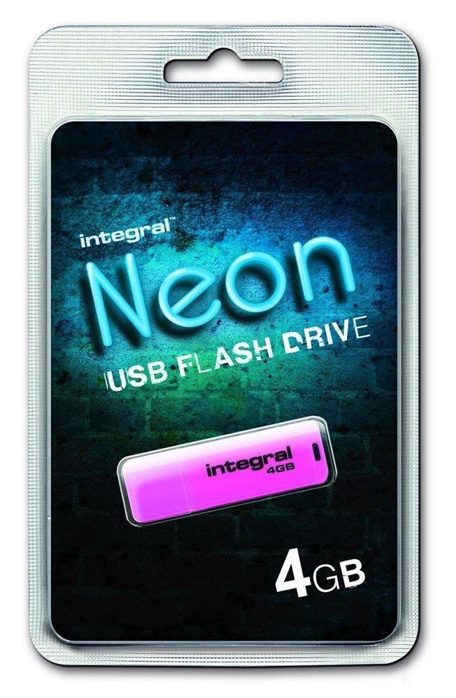 Integral pamięć USB Neon 4GB USB 2.0 kolor różowy