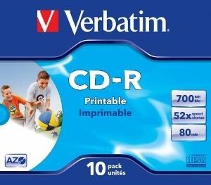 Verbatim CD-R 700MB 52x Printable (jewel case, 10szt)