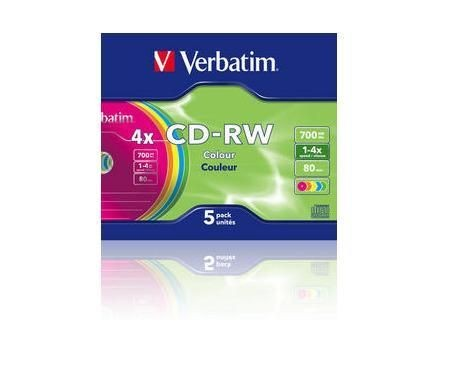 Verbatim CD-RW 700MB 4x Colours (slim case, 5szt)